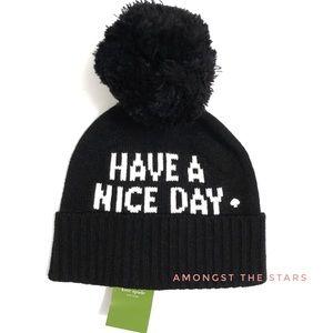 kate spade Have A Nice Day Black Pom Beanie Hat